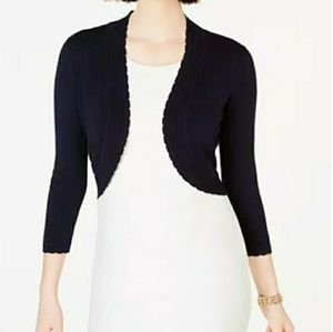 MNG • Open Front Cream Collarless Shrug M/L